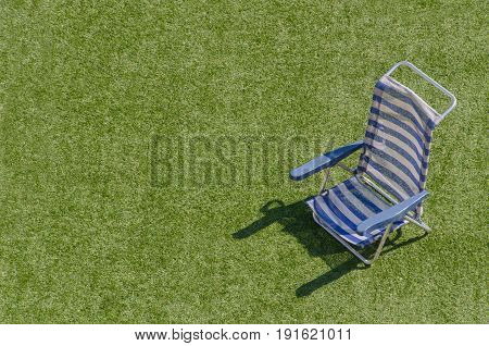 Sun Lounger In Blue And White Horizontal