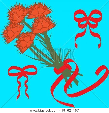 Floral illustration with bouquet of carnations. Red flowers with red ribbons on blue background for design of textile print wrapping paper cards. Bonus - bows for bouquet decoration