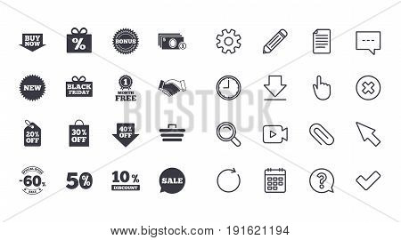 Set of Shopping, Sale and Discounts icons. Gift box, Deal and Shopping cart signs. Special offer symbols. Calendar, Document and Download line signs. Pencil, Service and Search icons. Vector
