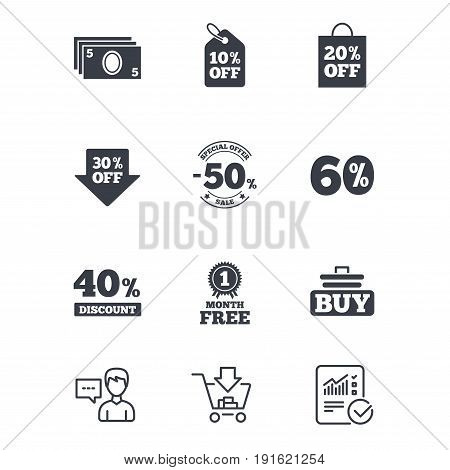 Sale discounts icon. Shopping cart, buying and cash money signs. 40, 50 and 60 percent off. Special offer symbols. Customer service, Shopping cart and Report line signs. Online shopping and Statistics