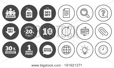 Sale discounts icon. Shopping, clients and speech bubble signs. 20, 30, 40 and 50 percent off. Special offer symbols. Document, Globe and Clock line signs. Lamp, Magnifier and Paper clip icons