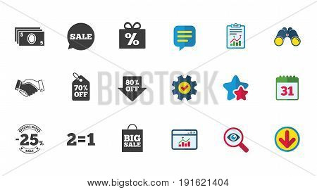 Sale discounts icon. Shopping, handshake and cash money signs. 25, 70 and 80 percent off. Special offer symbols. Calendar, Report and Download signs. Stars, Service and Search icons. Vector