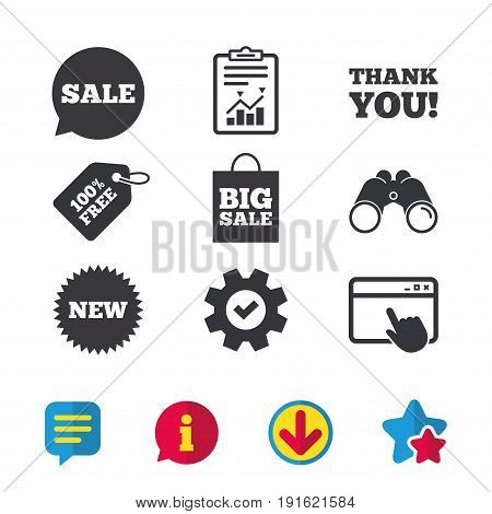 Sale speech bubble icon. Thank you symbol. New star circle sign. Big sale shopping bag. Browser window, Report and Service signs. Binoculars, Information and Download icons. Stars and Chat. Vector