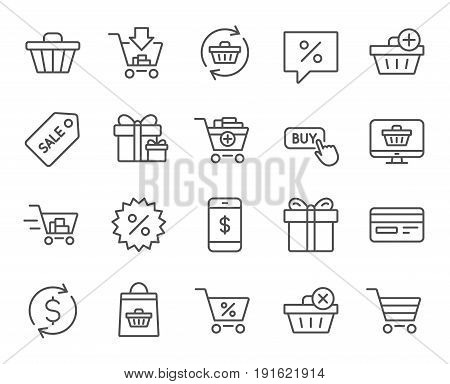 Shopping line icons. Gifts, Presents and Sale offer signs. Shopping cart, Tags and Delivery symbols. Speech bubble, Discount and Credit card. Online buying. Quality design elements. Editable stroke
