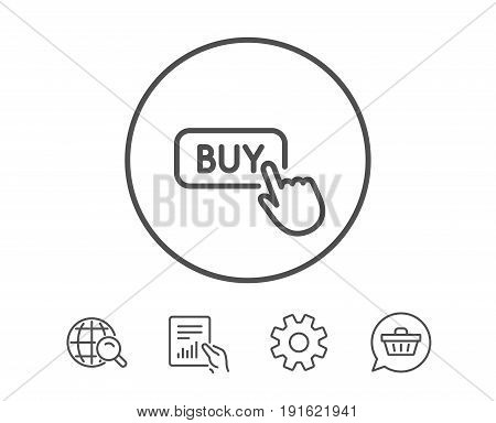Click to Buy line icon. Online Shopping sign. E-commerce processing symbol. Hold Report, Service and Global search line signs. Shopping cart icon. Editable stroke. Vector
