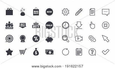 Set of Shopping, E-commerce and Business icons. Big sale, Gift box and Discounts signs. Clients, Sale and Shopping cart symbols. Calendar, Document and Download line signs. Vector