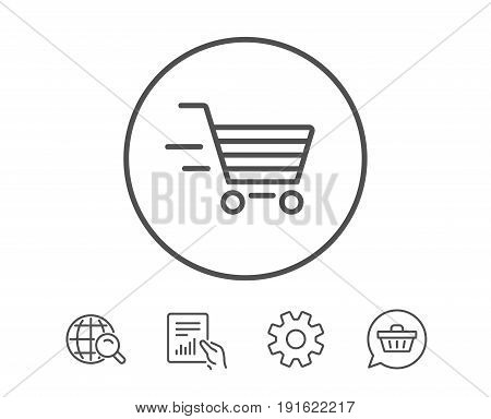 Delivery Service line icon. Shopping cart sign. Express Online buying. Supermarket basket symbol. Hold Report, Service and Global search line signs. Shopping cart icon. Editable stroke. Vector