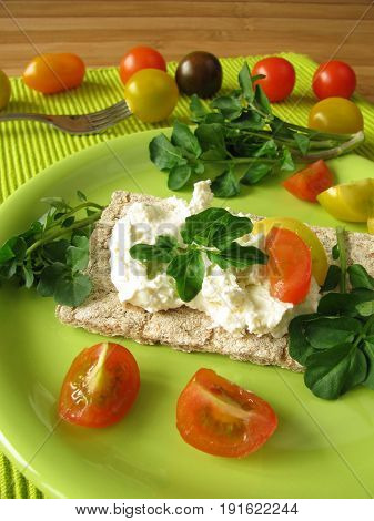 Crispbread with watercress cream cheese and fresh herbs
