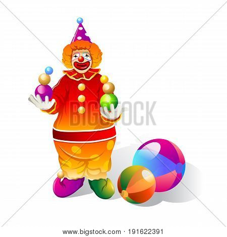 clown plays with ball performance. Vector Illustration design