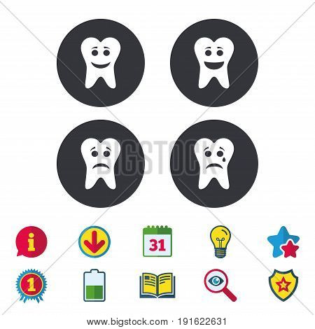 Tooth smile face icons. Happy, sad, cry signs. Happy smiley chat symbol. Sadness depression and crying signs. Calendar, Information and Download signs. Stars, Award and Book icons. Vector
