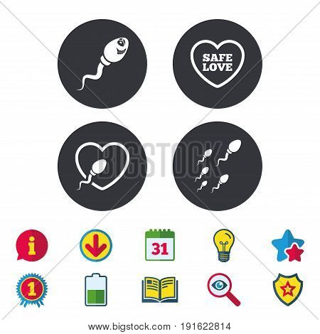 Sperm icons. Fertilization or insemination signs. Safe love heart symbol. Calendar, Information and Download signs. Stars, Award and Book icons. Light bulb, Shield and Search. Vector