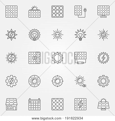 Solar energy icons set. Vector sun and solar panel concept alternative energy signs in thin line style