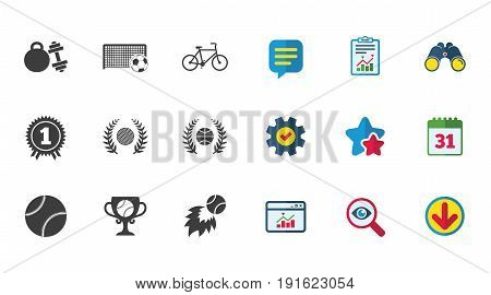 Sport games, fitness icons. Football, basketball and tennis signs. Golf, bike and winner medal symbols. Calendar, Report and Download signs. Stars, Service and Search icons. Vector