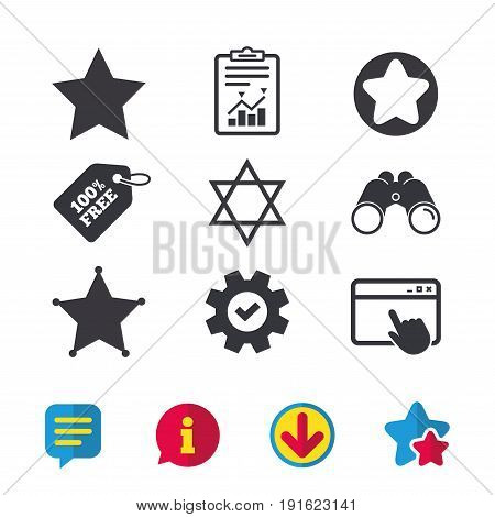 Star of David icons. Sheriff police sign. Symbol of Israel. Browser window, Report and Service signs. Binoculars, Information and Download icons. Stars and Chat. Vector