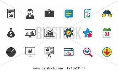 Statistics, accounting icons. Charts, presentation and pie chart signs. Analysis, report and business case symbols. Calendar, Report and Download signs. Stars, Service and Search icons. Vector