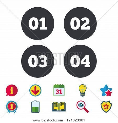 Step one, two, three and four icons. Sequence of options symbols. Loading process signs. Calendar, Information and Download signs. Stars, Award and Book icons. Light bulb, Shield and Search. Vector