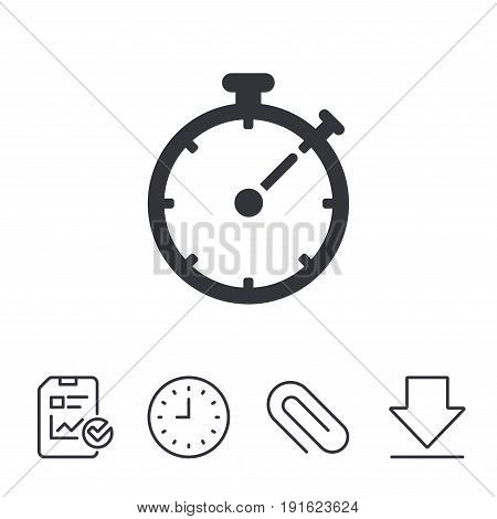 Timer sign icon. Stopwatch symbol. Report, Time and Download line signs. Paper Clip linear icon. Vector
