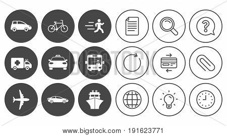 Transport icons. Car, bike, bus and taxi signs. Shipping delivery, ambulance symbols. Document, Globe and Clock line signs. Lamp, Magnifier and Paper clip icons. Question, Credit card and Refresh