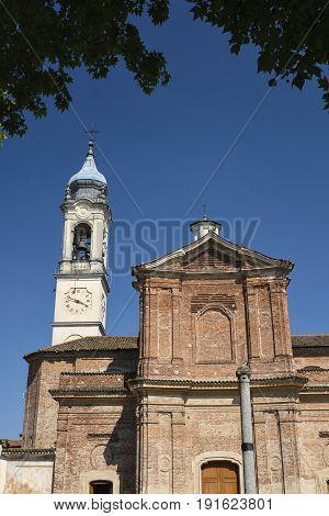 Facade of the historic Sant'Antonio Abate church at Bereguardo (Pavia Lombardy Italy)