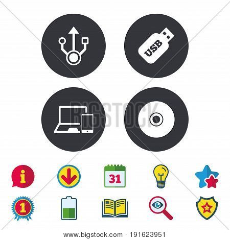 Usb flash drive icons. Notebook or Laptop pc symbols. Smartphone device. CD or DVD sign. Compact disc. Calendar, Information and Download signs. Stars, Award and Book icons. Vector