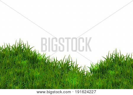 Green glossy grass isolated on white sky background.