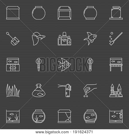 Fish and aquarium icons. Vector collection of aquariumistics outline minimal symbols on dark background