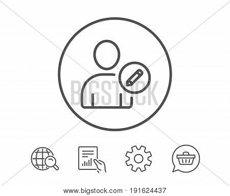 Edit User line icon. Profile Avatar with pencil sign. Person silhouette symbol. Hold Report, Service and Global search line signs. Shopping cart icon. Editable stroke. Vector