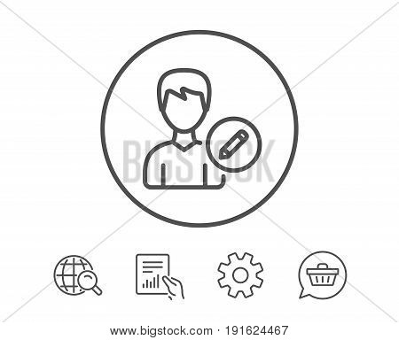 Edit User line icon. Profile Avatar with pencil sign. Male Person silhouette symbol. Hold Report, Service and Global search line signs. Shopping cart icon. Editable stroke. Vector