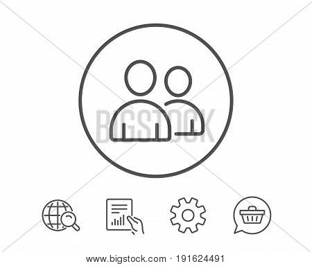 User line icon. Couple or Group sign. Person silhouette symbol. Hold Report, Service and Global search line signs. Shopping cart icon. Editable stroke. Vector