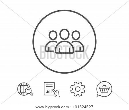 Group line icon. Users or Teamwork sign. Person silhouette symbol. Hold Report, Service and Global search line signs. Shopping cart icon. Editable stroke. Vector