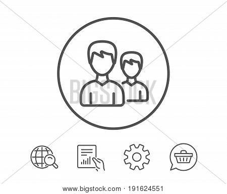 User line icon. Couple or Group sign. Male Person silhouette symbol. Hold Report, Service and Global search line signs. Shopping cart icon. Editable stroke. Vector