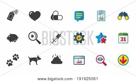 Veterinary, pets icons. Dog paws, syringe and magnifier signs. Pills, heart and feces symbols. Calendar, Report and Download signs. Stars, Service and Search icons. Statistics, Binoculars and Chat