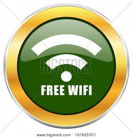 Free wifi green glossy round icon with golden chrome metallic border isolated on white background for web and mobile apps designers.