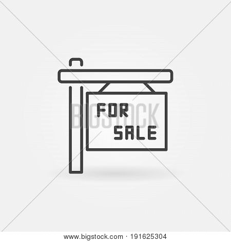 House for sale icon - vector signboard minimal symbol in thin line style