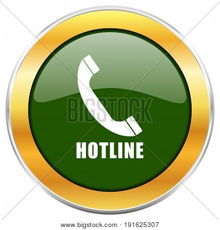 Hotline green glossy round icon with golden chrome metallic border isolated on white background for web and mobile apps designers.