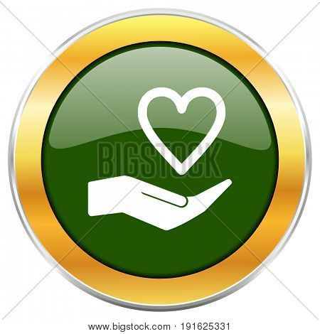 Care love green glossy round icon with golden chrome metallic border isolated on white background for web and mobile apps designers.