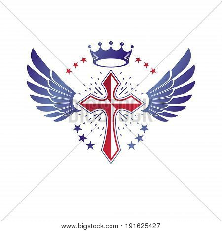 Cross Religious graphic emblem created using imperial crown and angel wings Christian crucifixion. Heraldic Coat of Arms vintage vector logo isolated on white background.