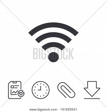 Wifi sign. Wi-fi symbol. Wireless Network icon. Wifi zone. Report, Time and Download line signs. Paper Clip linear icon. Vector