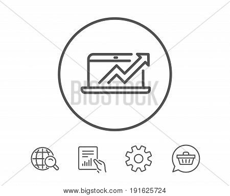 Data Analysis and Statistics line icon. Report graph or Chart sign. Computer data processing symbol. Hold Report, Service and Global search line signs. Shopping cart icon. Editable stroke. Vector