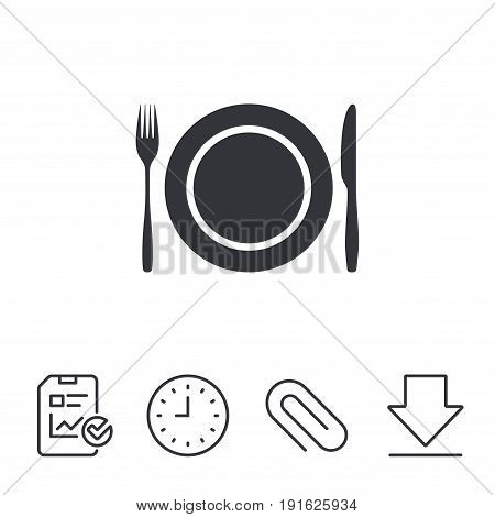 Plate dish with fork and knife. Eat sign icon. Cutlery etiquette rules symbol. Report, Time and Download line signs. Paper Clip linear icon. Vector
