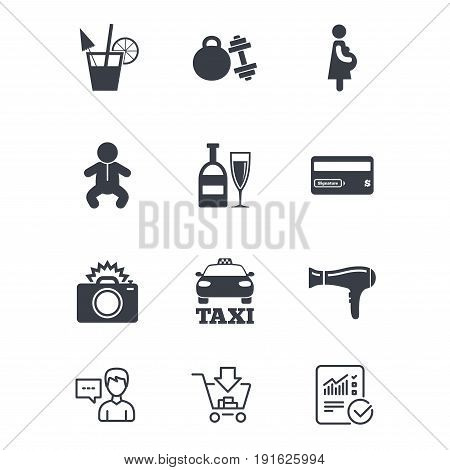 Hotel, apartment service icons. Fitness gym. Alcohol cocktail, taxi and hairdryer symbols. Customer service, Shopping cart and Report line signs. Online shopping and Statistics. Vector