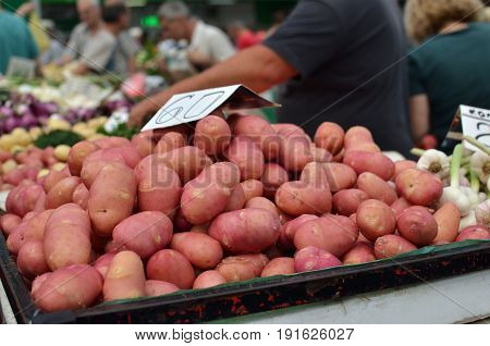 Potatoes On Market Stand