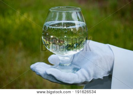 A waiter's hand in a white glove and a white napkin holding a cognac glass glass with water on a blurred background of nature green bushes and trees