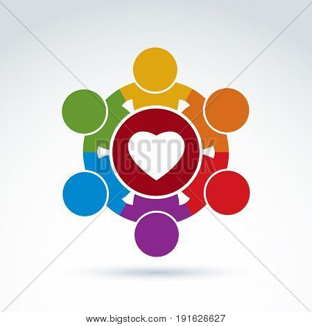 Heart and social medical and health organization icon vector conceptual stylish symbol for your design.