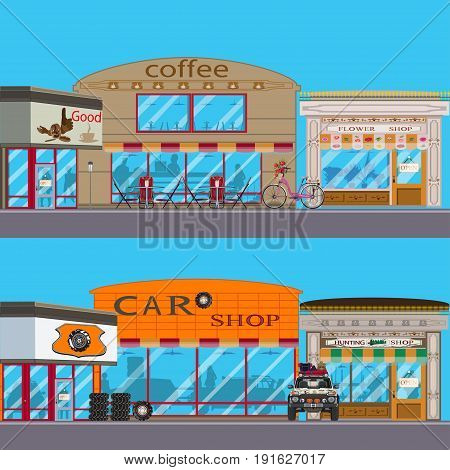 Vector set of shop facade. Coffee house, flower, car shop and hunting shop exterior. Flat style design.