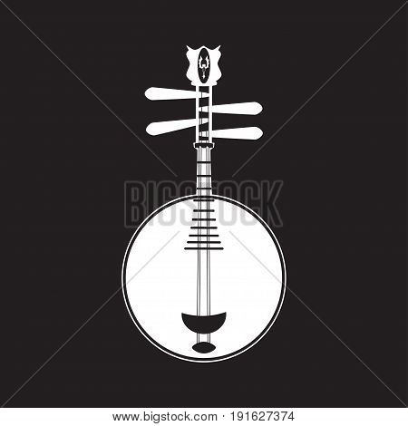 Vector yueqin white template on black background. Chinese string plucked musical instrument.