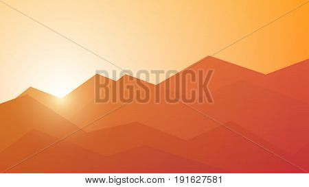 Poly mountain landscape - vector colorful geometric background. Low-poly sunset concept