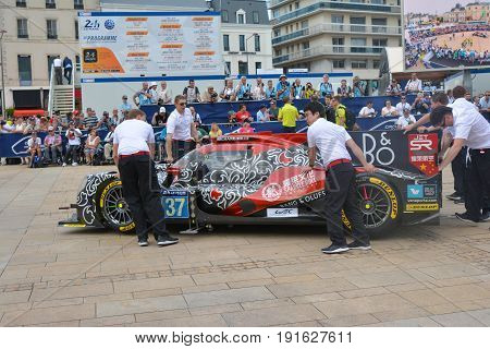 LE MANS FRANCE - JUNE 11 2017: Race car of Jackie Chan Oreca 07-Gibson. 11 june 2017- Weighing administrative and technical checks of the race cars before race