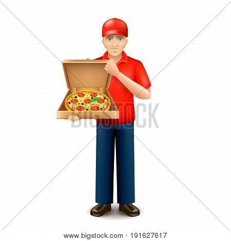 Pizza delivery man isolated on white vector illustration