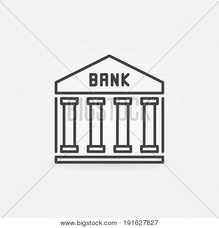 Bank outline icon - vector bank building minimal symbol or design element in thin line style